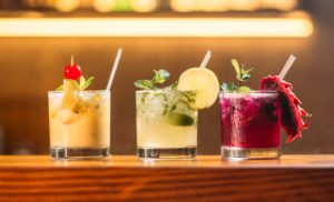 variety of colorful cocktails